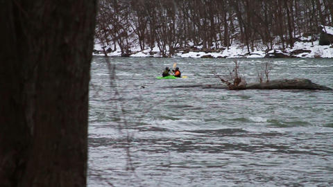 0513 Kayaking Down River in Winter , Slow Motion Footage