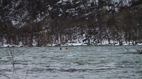 0514 Kayaking Down River in Winter , Slow Motion Stock Video Footage