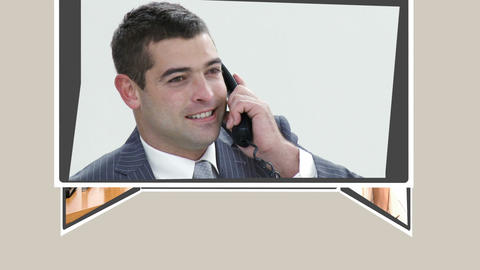 Montage of people talking on phone Animation
