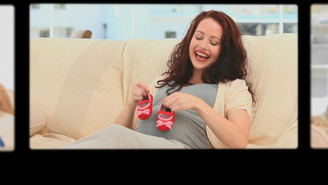 Montage of women having fun during their pregnancy Stock Video Footage