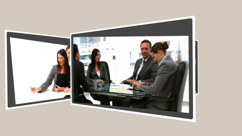 Montage of business people working together Stock Video Footage