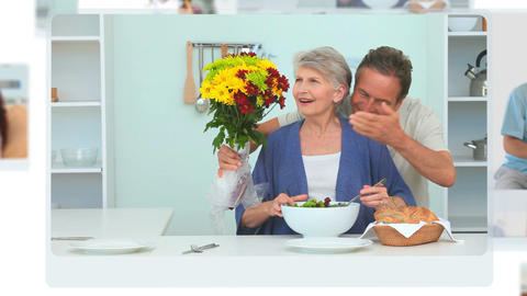 Montage of various people being happy with flowers Animation