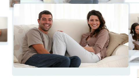 Montage of joyful couples relaxing and laughing Animation
