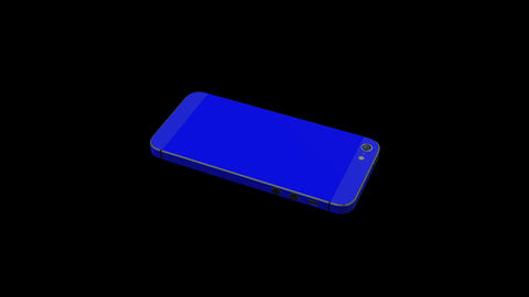 0538 3 D iphone Blue , Green Screen and Alpha Stock Video Footage