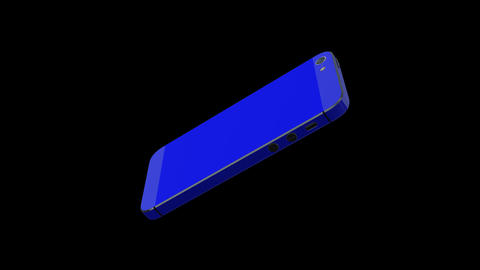 0539 3 D iphone Blue , Green Screen and Alpha Stock Video Footage