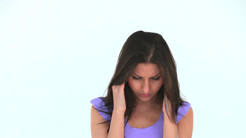 Young woman having a headache Footage