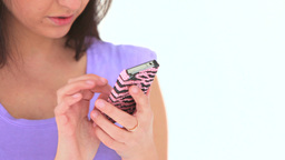 Young woman writing a message Stock Video Footage