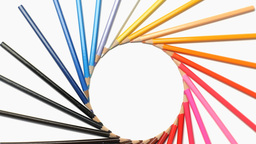 Color pencils rotating in a wonderful circle Footage