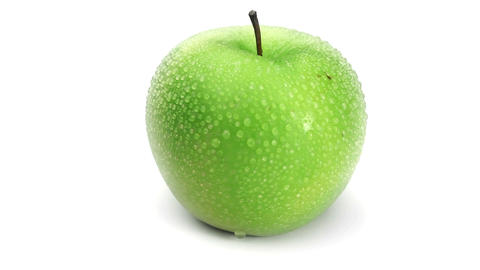 Wet green apple turning Footage