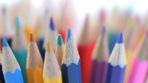 Top of color pencils turning Footage