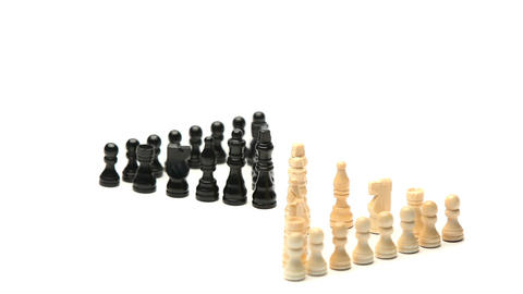 White chess pieces facing black chess pieces Footage