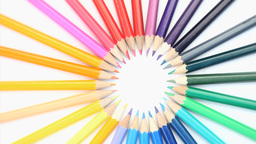 Color Pencils Forming A Circle Rotating stock footage