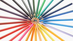 Color pencils joined at the top rotating Footage