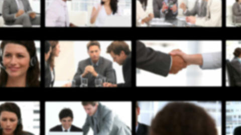 Montage of business people exchanging ideas Stock Video Footage