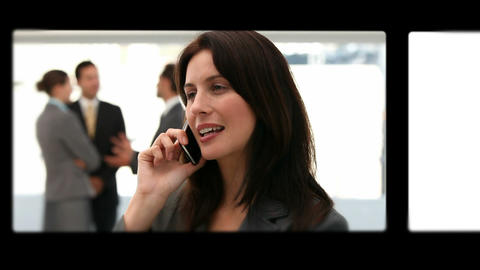 Montage of business people talking on the phone Animation