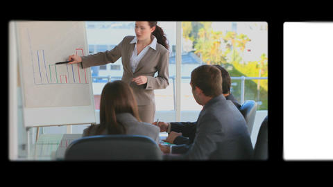 Montage of business people working Animation