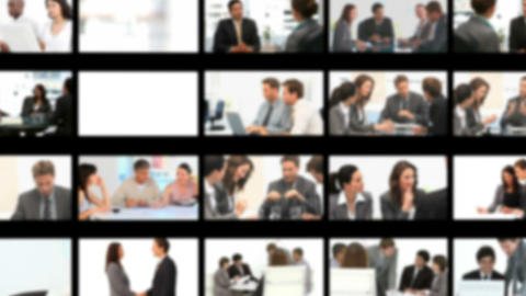 Montage of business people during meetings Stock Video Footage