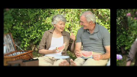Montage of retired couple having fun Animation