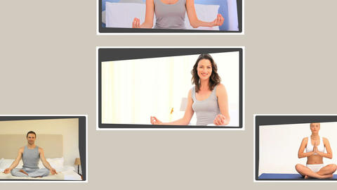 Montage of people practising yoga Stock Video Footage