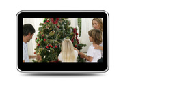 Montage of children happy to decorate the christmas tree Animation