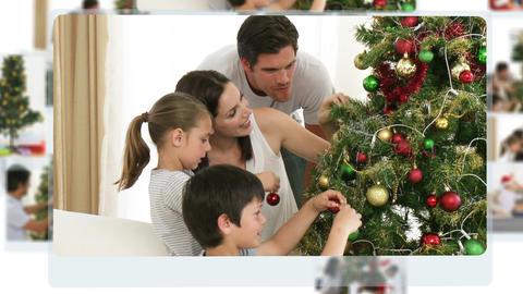 Montage of children decorating the christmas tree Stock Video Footage