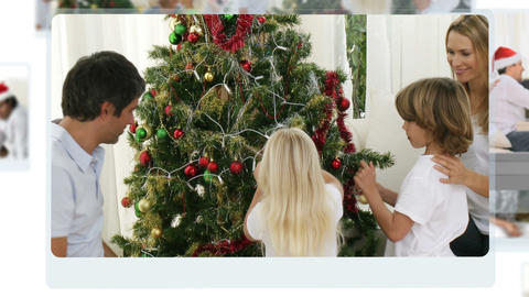 Montage of children decorating the christmas tree Animation
