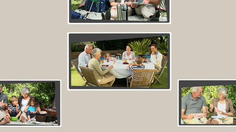 Montage of grandparents spending time with their f Stock Video Footage