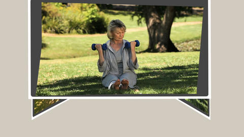 Montage of mature couples relaxing annd exercising Animation