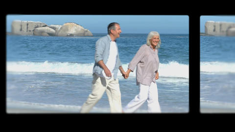 Montage of retired couples relaxing Animation