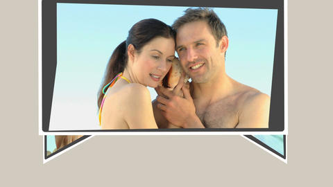 Montage of a cute couple relaxing on the beach Animation