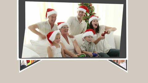 Montage of families celebrating Christmas Day toge Animation