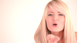 Cute blondhaired woman posing Stock Video Footage