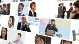 Montage of professionals talking on the phone Stock Video Footage