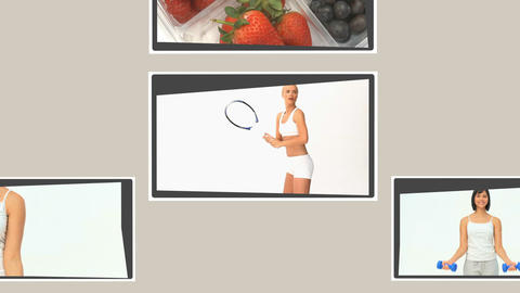 Montage of different scenes illustrating healthy lifestyles Stock Video Footage