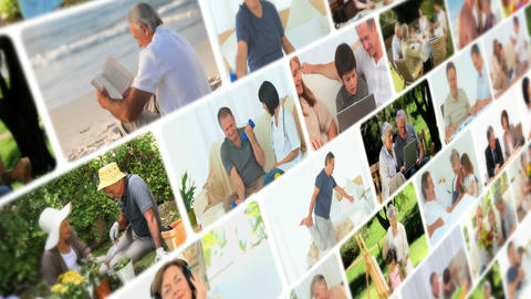 Montage of a variety of people in various situatio Stock Video Footage