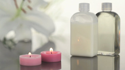 Candles and massage lotion in a Spa centre Footage