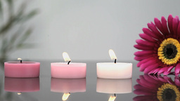 Lighted candles in a Spa centre Footage