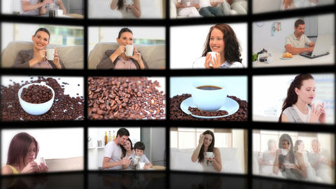 Montage of people drinking coffee Animation