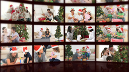 Montage of families celebrating christmas Animation