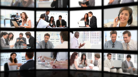 Montage of business people exchanging ideas Animation