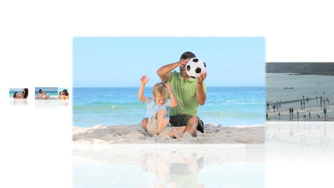 Montage of families on the beach Animation