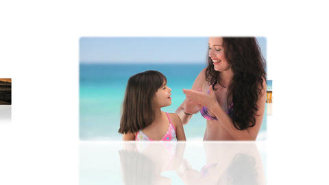 Montage of families on the beach Stock Video Footage