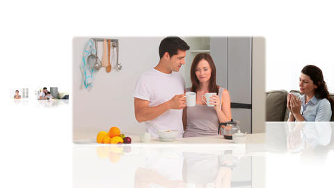 Montage of delighted people drinking coffee Animation