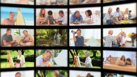 Montage Of Seniors In Different Situations stock footage