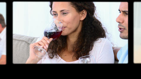 Montage of people drinking wine in different situa Stock Video Footage