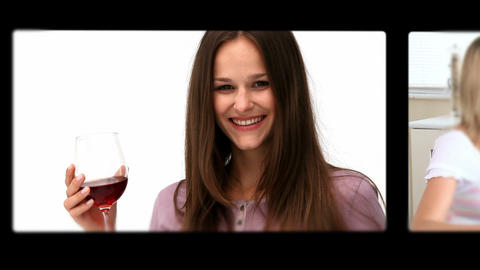 Montage of people drinking wine in different situa Animation