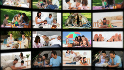 Montage of couples and families relaxing Stock Video Footage