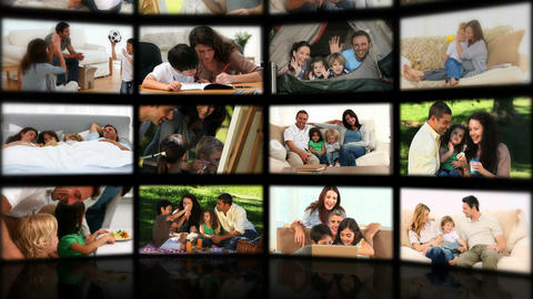 Montage of couples and families relaxing Animation