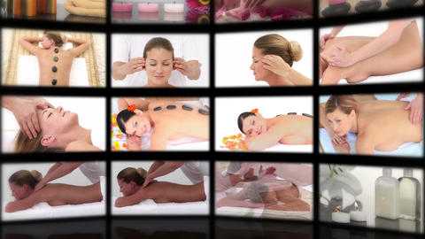 Montage of attractive women enjoying their treatment Animation