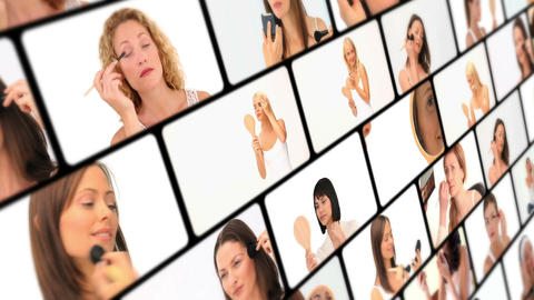 Montage of beautiful women makingup Stock Video Footage